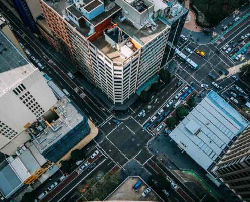 city streets from above