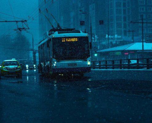 city traffic in rain